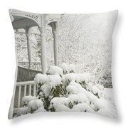 Snow Covered Porch Throw Pillow