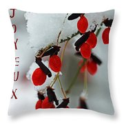 Joyeux Noel Twilight.Snow Covered Red Fruit Joyeux Noel By Debbie Oppermann