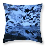 Snow Covered River Rocks Throw Pillow