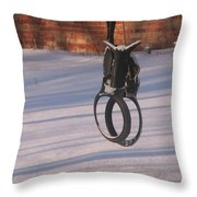 Snow Covered Rocking Horse Swing Throw Pillow