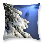 Snow Covered Tree Branches Throw Pillow