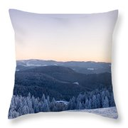 Snow Covered Trees On A Hill, Belchen Throw Pillow