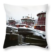 Snow Covered Tugboats Throw Pillow by Eric Gendron
