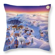 Snow Covered Village Throw Pillow