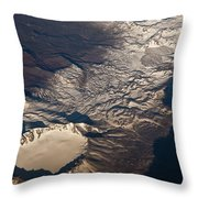 Snow Covered Volcano Showing Caldera Throw Pillow