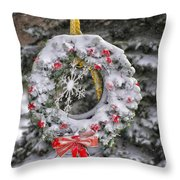 Snow Covered Wreath Throw Pillow