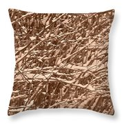 Snow Covers A Tree Branch In Winter Throw Pillow
