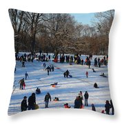 Snow Day - Fun Day At The Park Throw Pillow