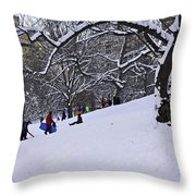 Snow Day In The Park Throw Pillow