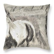 Snow Day Roundup Throw Pillow