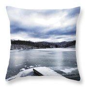 Snow Dock Frozen Lake Throw Pillow