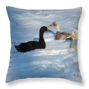 Snow Ducks Throw Pillow
