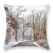 Snow Dusted Colorado Scenic Drive Throw Pillow