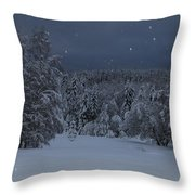 Snow Falling In A Forest Throw Pillow