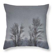 Snow Falling On Bare Trees Throw Pillow