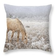 Snow Falling On Horses Throw Pillow