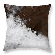 Snow Flake Macro 2 Throw Pillow