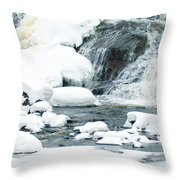 Snow Formations At Bottom Of Bond Falls Throw Pillow