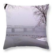 Snow From Lewis Island Bridge Throw Pillow