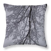 Snow Frosted Branches Throw Pillow