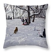 Snow Fun Throw Pillow