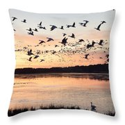 Snow Geese At Chincoteague Last Flight Of The Day Throw Pillow