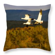 Snow Geese Flying In Fall Throw Pillow
