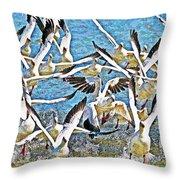 Snow Geese Panic Throw Pillow