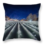 Snow Groomed Trail At A Ski Resort At Night Throw Pillow