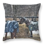 Snow Horses Throw Pillow