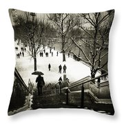 Snow In London Throw Pillow