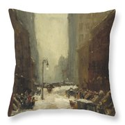Snow In New York Throw Pillow