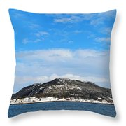Snow In The Harbour Throw Pillow
