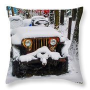 Snow Jeep Throw Pillow
