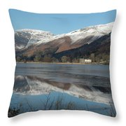 Snow Lake Reflections Throw Pillow
