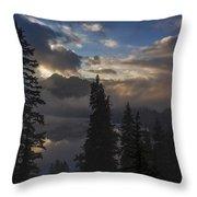 Snow Lake Sunset Throw Pillow