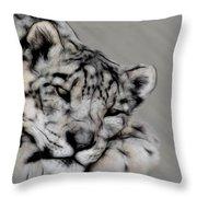 Snow Leopard Digital Art Throw Pillow