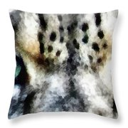 Snow Leopard Eyes Throw Pillow