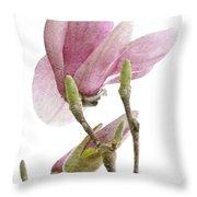 Snow Magnolia Painterly 1 Throw Pillow
