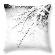 Snow On Branch Throw Pillow