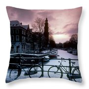 Snow On Canals. Amsterdam, Holland Throw Pillow