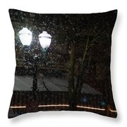 Snow On G Street In Grants Pass - Christmas Throw Pillow