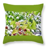 Snow On Green Leaves With Red Berries Throw Pillow