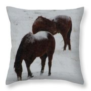 Snow On Horses Throw Pillow