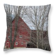 Snow On Red Barn Roof Throw Pillow