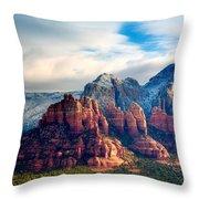 Snow On Red Rocks Throw Pillow
