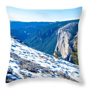 Snow On Sentinel Dome In Yosemite Np-ca Throw Pillow