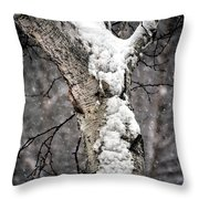 Snow On The Birch Throw Pillow