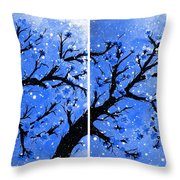 Snow On The Blue Cherry Blossom Tree Throw Pillow