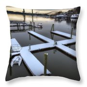 Snow On The Docks Throw Pillow